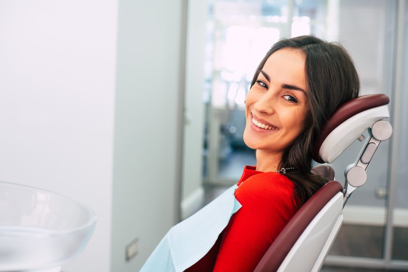 Woman at routine visit to the dentist