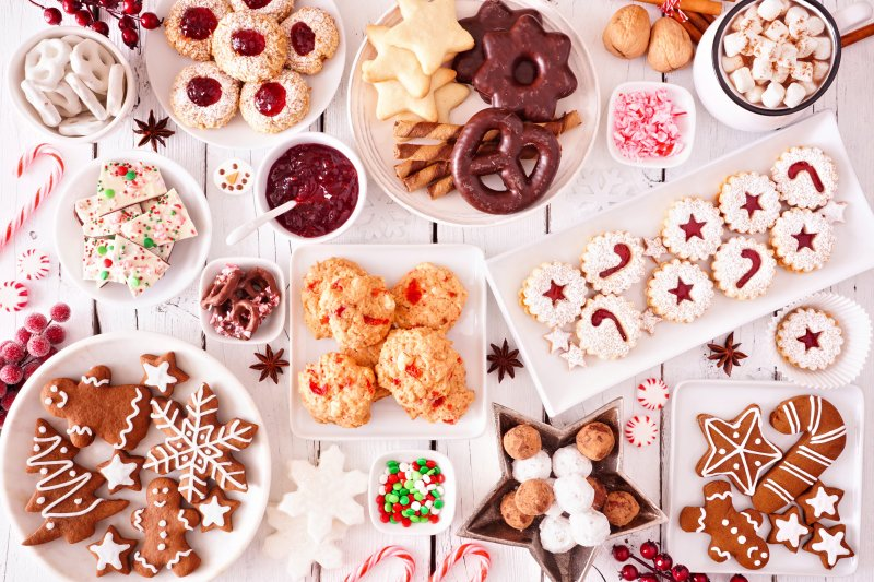 Festive display of holiday desserts
